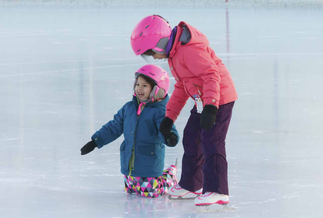 Kids learn to skate at the PAL Outdoor Skating Rink in Westport. Redding residents are supporting the idea of an outdoor rink.