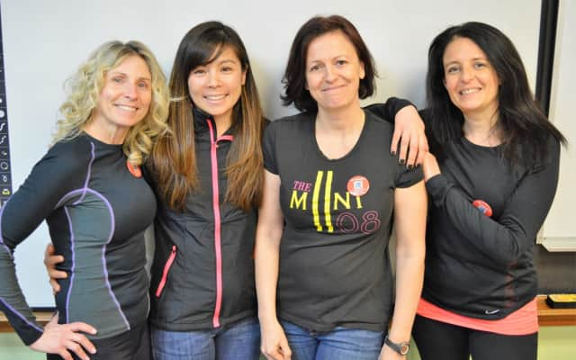 Four Bergen County educators will run through Senegal, delivering school supplies. They are, from the left, Aileen O'Rourke, Miki Jensen, Sandrine Labruyere and Cathy Mur.