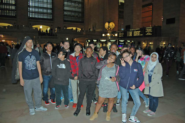 Peekskill Middle School students stop at Grand Central Terminal in New York City before heading to the United Nations.