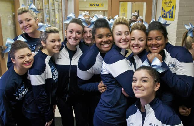 Cheerleaders took the floor at the annual Saddle Brook high School Parents Cheerleading Association Competition on Sunday.