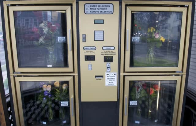 A 24-hour flower vending machine in Stamford. Soon, in the state Senate agrees, beer and wine may be sold in similar Connecticut vending machines.