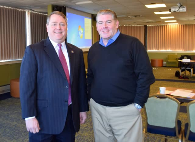 Rep. Carter (left) with Stephen Bull, president of the Greater Danbury Chamber of Commerce.