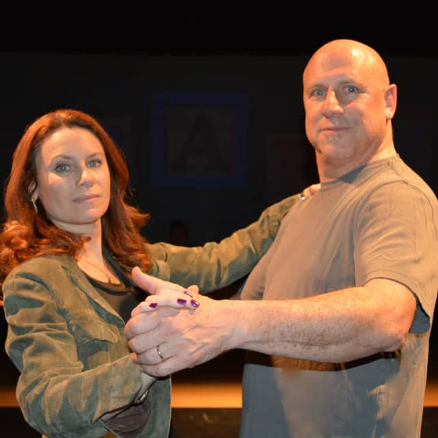 "New City actress Lisa Spielman with Port Chester resident Peter Green in ""Baby,"" playing at the Darien Arts Center in Darien, Conn."