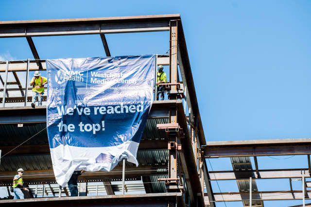 Westchester Medical Center celebrated a topping off of its new pavillion.