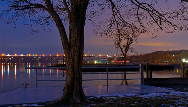 Looking toward the Newburgh-Beacon Bridge from Long Dock Park in Beacon.
