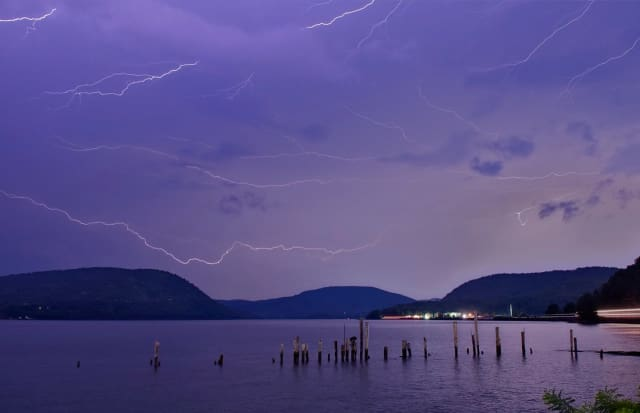 Scattered and frequent lightning bursts put on a show in the skies over Westchester and Putnam last week.