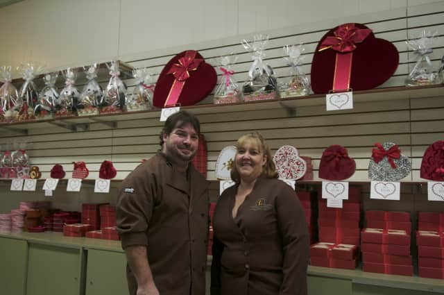 Lucas Candies was featured in a candy cane segment on Zagat. Owners Nick Loucas and Debbie Bertrand are shown at their Haverstraw store in February, 2016.