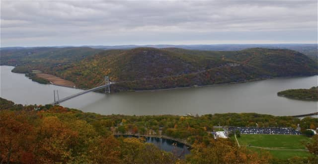 The Bear Mountain Bridge and surrounding area, seen from Perkins Drive, in its full fall splendor.