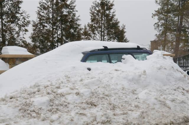 This car was buried in the snow in Mahopac.
