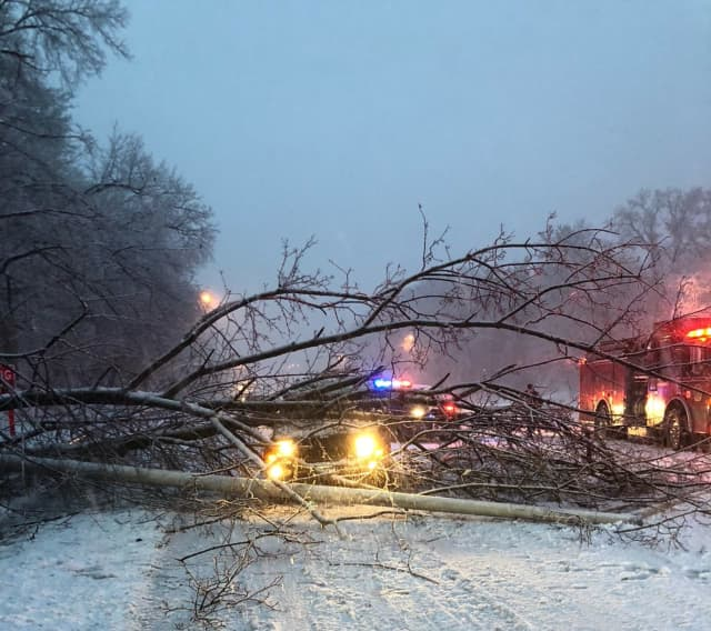Greenwich still has numerous roads closed from downed trees and power lines.