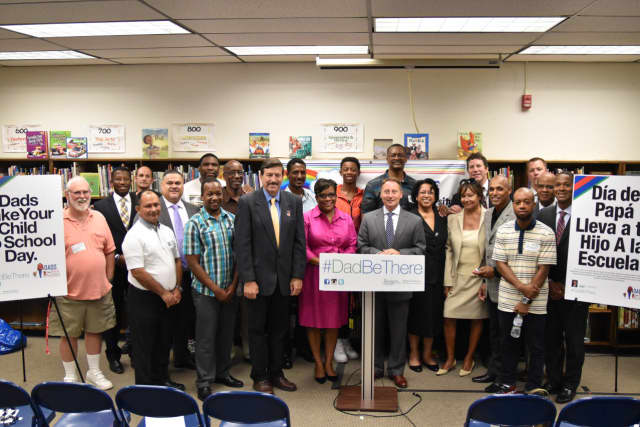 Westchester County Executive Rob Astorino joined with local legislators, Peekskill school officials and parents to announce the Sept. 20 Dads Take Your Child To School Day that is part of a statewide movement to encourage involvement of fathers.