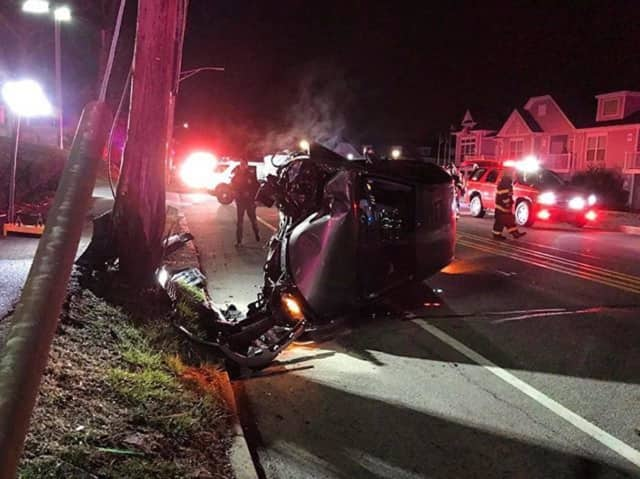 An SUV driver lost control of a vehicle, crashing into a utility pole.