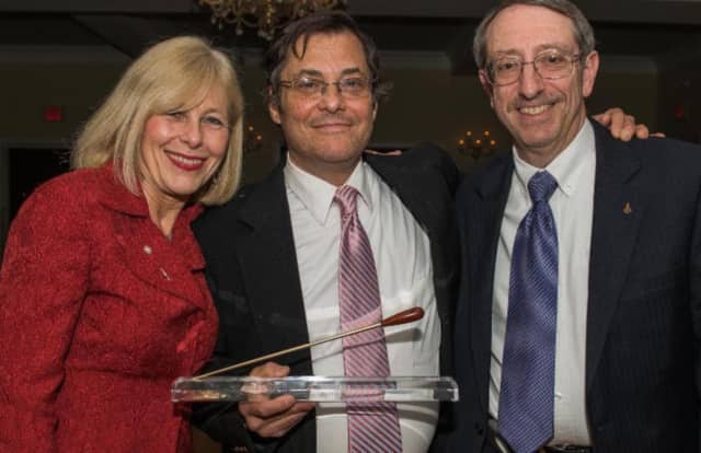 From left, Associate Superintendent Diane Massimo, David Tobey and District Coordinator of the Arts Marc Schneider at the awards ceremony.