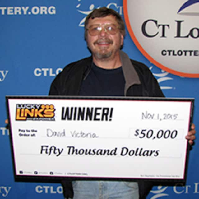 David Victoria of Shelton, Conn., won $50,000 with the winning Lucky Links lottery ticket he bought at a convenience store in Monroe, Conn.