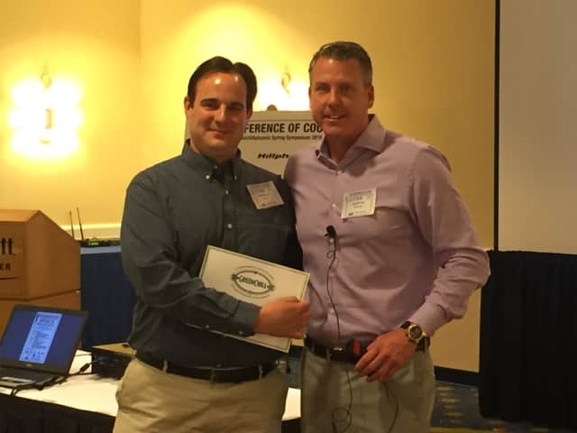 DeCicco & Sons President John DeCicco Jr. is presented with GreenChill Platinum Award by Hillphoenix Vice President of Sales and Marketing Raymond Downes at a recent symposium hosted by Hillphoenix.
