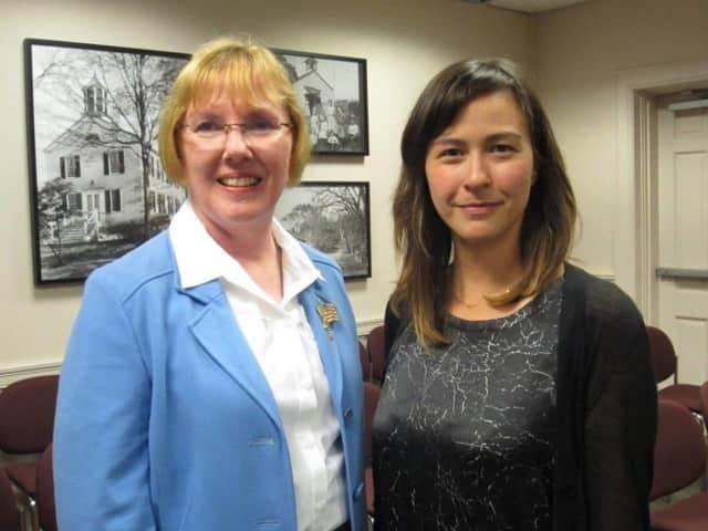 Wilton Democratic Town Committee members Deborah McFadden and Maryli Secrest.