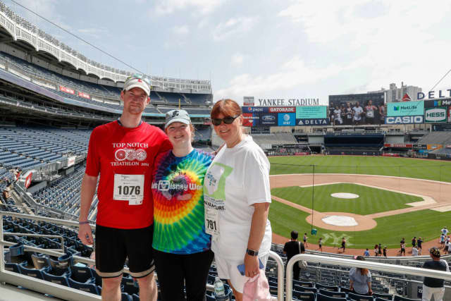 Dennis Wirth, Kristina Ferreira and Valerie Quigley ran in the 9th Annual Damon Runyon 5K at Yankee Stadium.