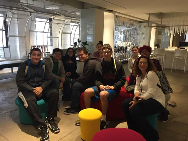 BOCES teacher Christine Ireland, right, with interior design, architecture and pre-engineering students in one of the New York Design Center's showrooms in October.