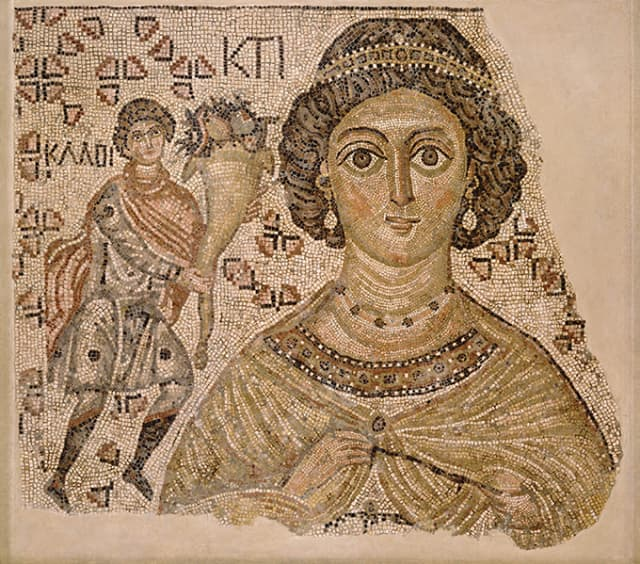 Fragment of a Floor Mosaic with a Personification of Ktisis, Byzantine, 500-550, with modern restoration, marble and glass; The Metropolitan Museum of Art, Harris Brisbane Dick Fund and Fletcher Fund, 1998; Purchase, Lila Acheson Wallace Gift, Dodge Fund, and Rogers Fund, 1999 (1998.69; 1999.99) Image © Metropolitan Museum of Art.