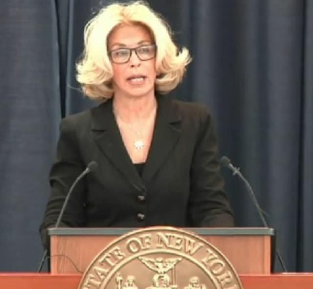 """New York's top judge, Janet DiFiore, gives her """"State of Our Judiciary"""" speech at Ground Zero of new court system initiatives and reforms, the Bronx Hall of Justice, on Wednesday, Feb. 22."""