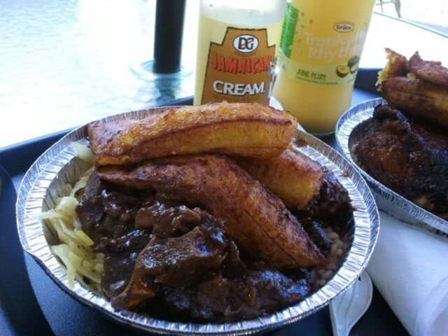 Oxtail, rice, beans and plantains