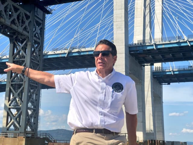 The governor atop the new Tappan Zee Bridge.