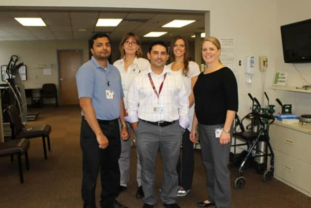 Physical therapists at the Putnam Hospital Center have been motivated to go for advanced degrees. From left: Praveen Issac, Kirsi Vera, James Mangano, Hannah Clark Polhill and Vicki Seppell. Not pictured are: Donna DiFabio and Jeanne Morgante.