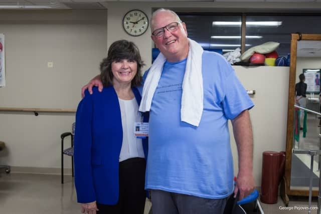 Cardinal Timothy Dolan with Dr. Mary Leahy, CEO of Bon Secours Charity Health System.