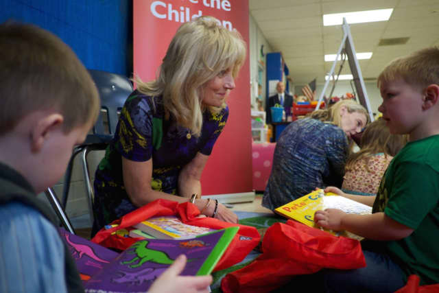 Save the Children Board Chair Dr. Jill Biden reads to preschool students in Tennessee earlier this month.