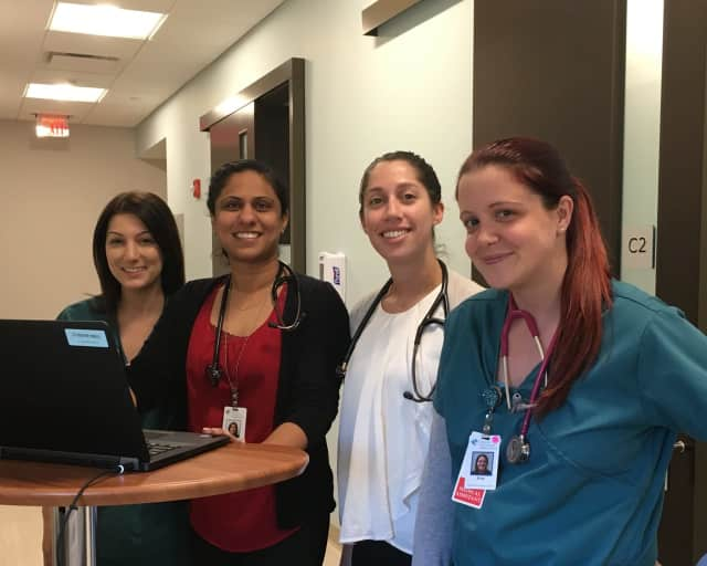 Lisa Mello, LPN, Dr. Anureet Gill, Kathleen D'Orso, APRN and Erica Cowan, MA, of the new Newtown Primary Care and Health Specialists.