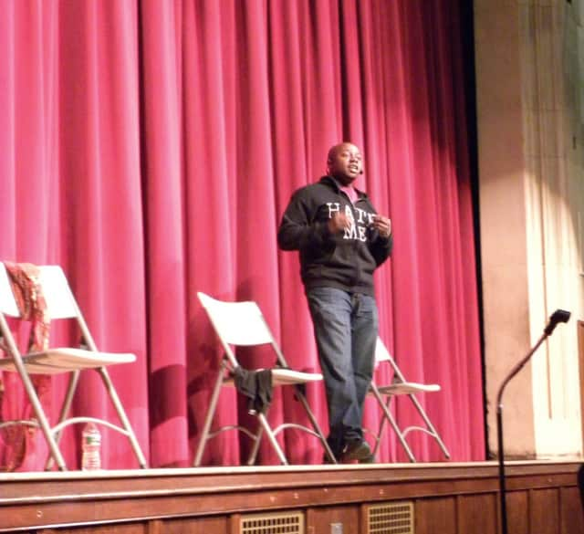 """Dr. Michael """"Mykee"""" Fowlin takes on the role of an overweight high school student from a mixed background who faces daily discrimination and derogatory comments from fellow students during his assembly for Glen Rock Middle School students."""