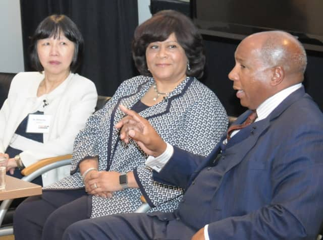 Dr. Mona Lau, Donna Johnson and Earl Graves, Jr., recently took part in a special event hosted by the YMCA and MasterCard regarding racism in the workplace.