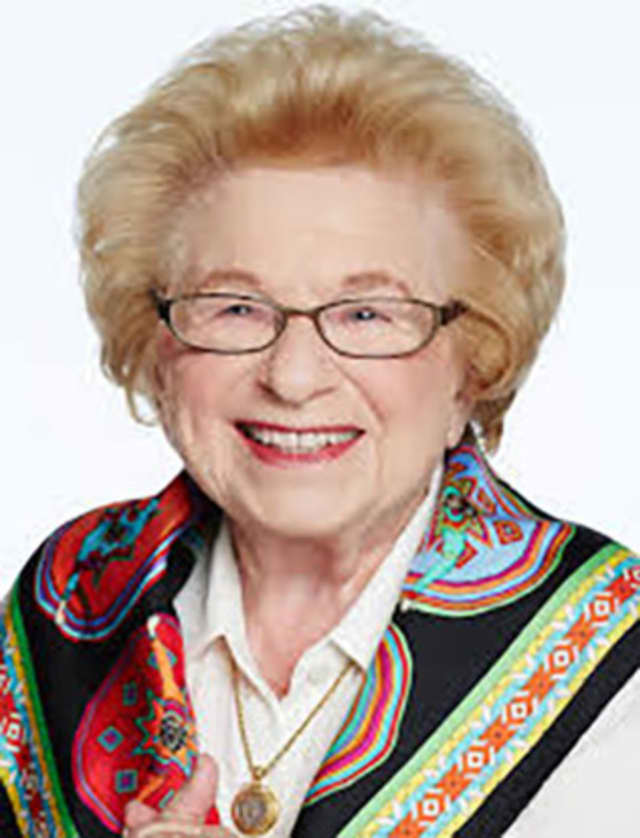 A wine and cheese book signing with Ruth K. Westheimer takes place at the Congregation Sons of Israel in Briar Cliffs Manor, N.Y.