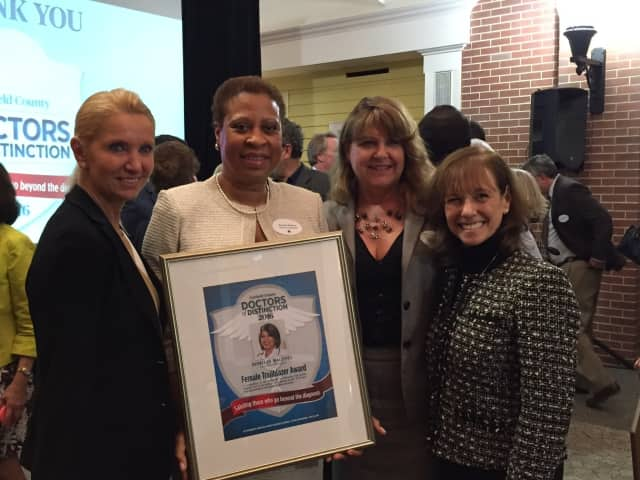 Romelle Maloney, M.D., winner of the Female Trailblazer award at the 2016 Doctors of Distinctions ceremony with Greenwich Hospital nursing leaders (l-r) Anna Cerra, Jeanne VanSciver and Susan Brown.