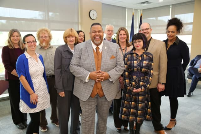 Dr. Michael Baston, President of Rockland Community College, pictured with the team who put together the Title V Grant Application.