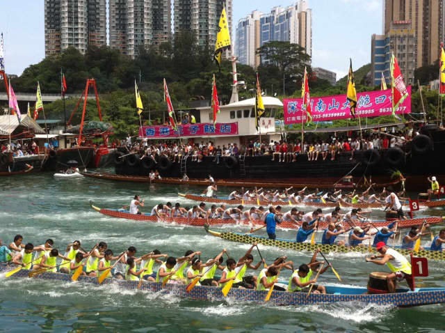 A dragon boat racing in Hong Kong. Participants can join one in Poughkeepsie Saturday, July 23.