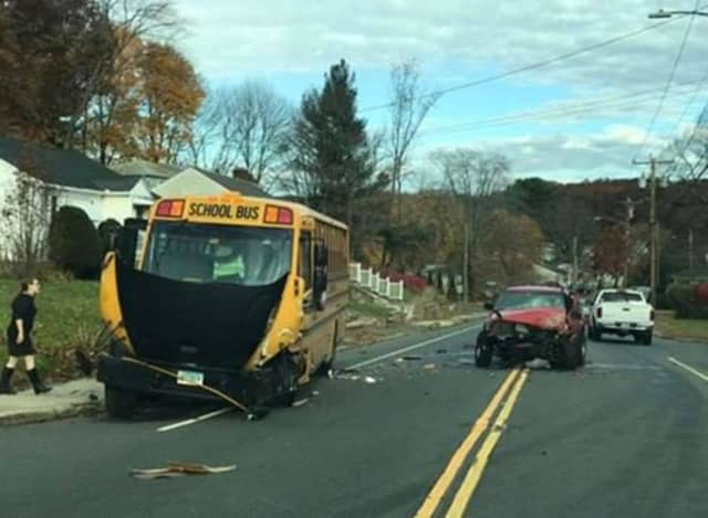 A bus with 10 students onboard was hit head-on by another vehicle.