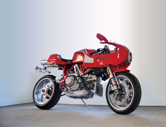 """A 2001-02 Evoluzione Ducati MH900e in Gallarus Arts Space's """"High Design: Art Fueled by Function"""" show, on view in Katonah through March 31. Photographs by Gregg Muenzen."""