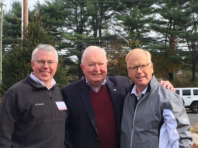 Adam Dunsby, former state Rep. John Stripp and Danbury Mayor Mark Boughton visit Weston.