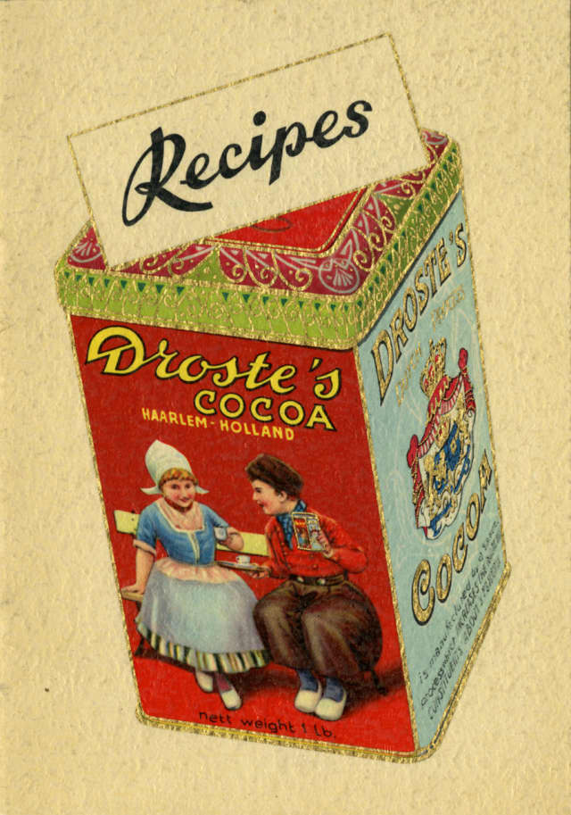 "Droste's Cocoa recipe pamphlet from the CIA archives. Chocolate is one of the Dutch commodities explored in ""Dutch Foodways in the Old and New World,"" a student-curated exhibit at The Culinary Institute of America."