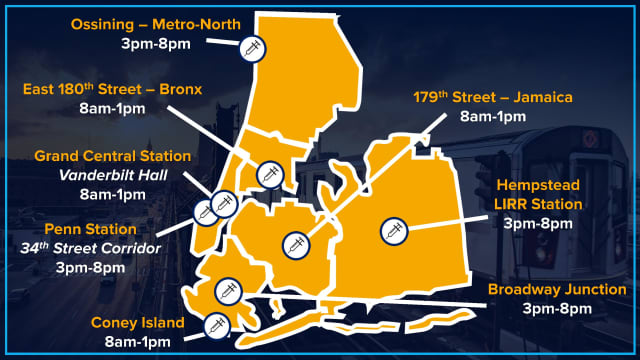 There will be eight new COVID-19 vaccination sites set up at MTA stations in New York.