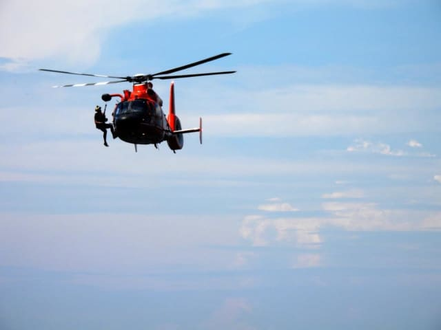 US Navy helicopter drill (stock photo)