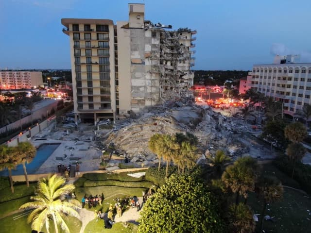 The collapsed building in Surfside, Florida.
