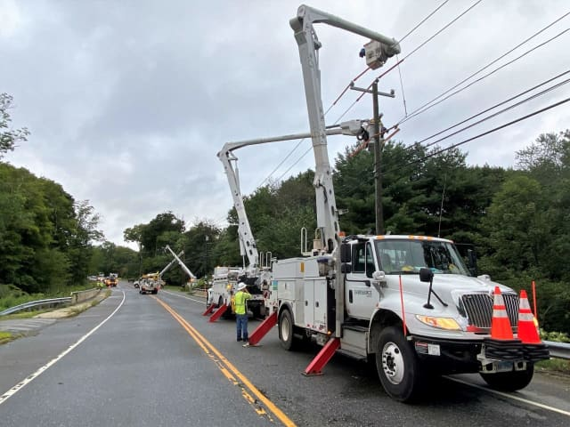 A storm system that swept through the area overnight has knocked out power to thousands in Connecticut.