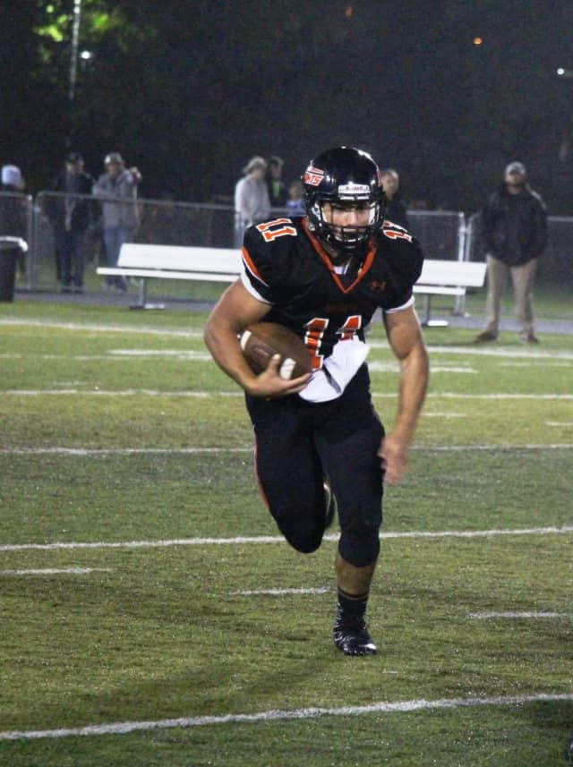 Hasbrouck Heights quarterback Frank Quatrone scored two touchdowns to lift the Aviators to a 48-6 over Ridgefield High School Friday night.