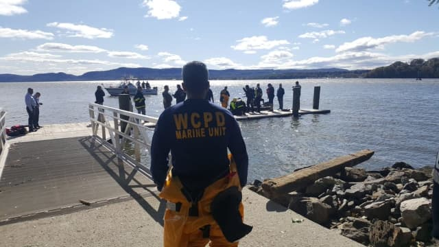 Numerous law enforcement agencies are searching for a vehicle that drove into the Hudson River and then sank.