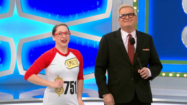 "Emily Pilkington with host Drew Carey on ""The Price Is Right."""