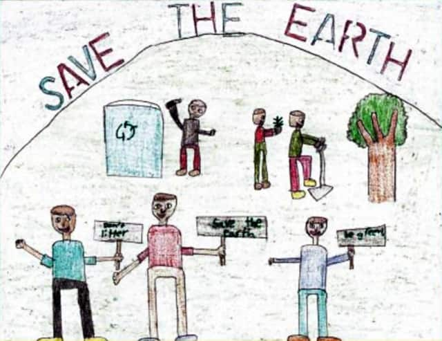 Second-grader Yusef Kose won an environmental poster contest sponsored by the EPA.