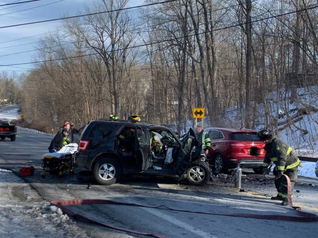 State Police have closed a Dutchess County roadway due to a four-vehicle crash.