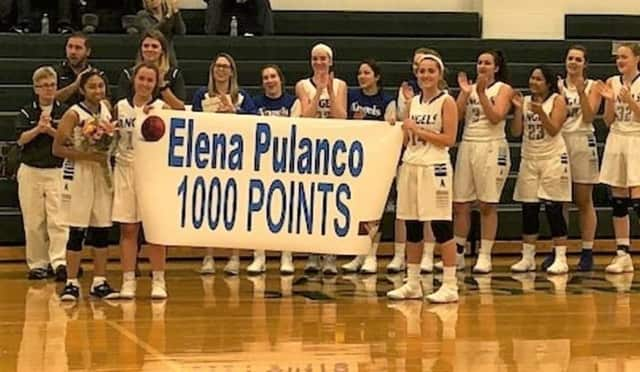 Elena Pulanco, a senior at Academy of the Holy Angels in Demarest, hit her 1,000th shot with a 3-pointer, something she's been working on for the entirety of her career.